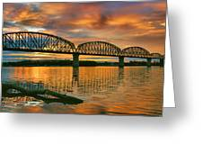 Railroad Bridge At Sunrise Greeting Card by Steven Ainsworth
