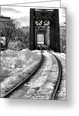 Railroad Bridge In Winter Greeting Card