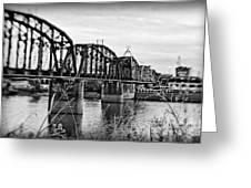 Railroad Bridge -bw Greeting Card
