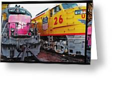 Railroad Museum Triptych Greeting Card by Steve Ohlsen