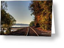 Railroad Track By The Mississippi  Greeting Card