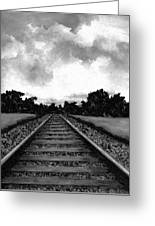 Railroad Tracks - Charcoal Greeting Card