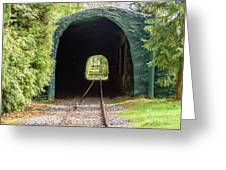 The Railway Passing Through The Tunnel To Meet The Light Greeting Card