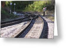 Railroads Merging Greeting Card by Richard Mitchell