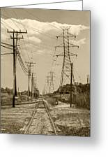 Rails And Wires Greeting Card