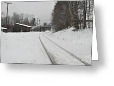 Rails In Snow Greeting Card