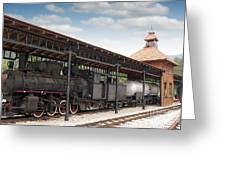 Railway Station With Old Steam Locomotive Greeting Card