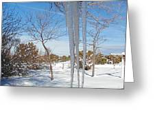 Rain Barrel Icicle Greeting Card