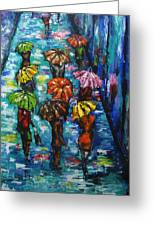 Rain Fantasy Acrylic Painting  Greeting Card