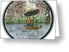 Rain Gnome Rain Circle Greeting Card