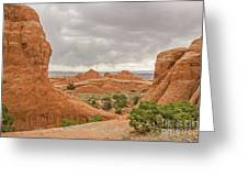 Rain In The Distance At Arches Greeting Card