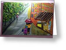 Rain Nature And Street  Greeting Card