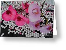 Rain On Orchids Greeting Card