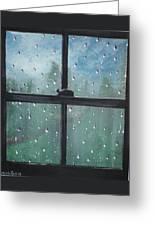 Rain On The Window Greeting Card
