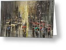 Rain On Wisconsin Avenue Greeting Card