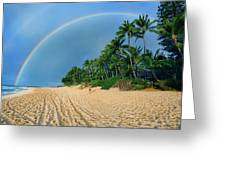 Rainbow At Pipeline, North Shore,  Greeting Card