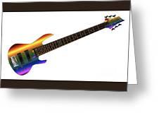 Rainbow Big Neck Bass Guitar Greeting Card