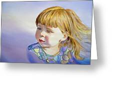 Rainbow Breeze Girl Portrait Greeting Card