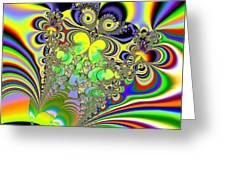 Rainbow Butterfly Bouquet Fractal Abstract Greeting Card