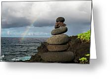 Rainbow Cairn Greeting Card by William Dickman
