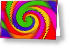 Rainbow Coloured Cock Swirl H B Greeting Card