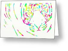 Rainbow Coloured Tiger Greeting Card