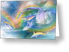 Rainbow Dolphins Greeting Card