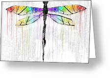 Abstract Dragonfly - White Rainbow Greeting Card