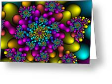 Rainbow Fireworks Fractal Greeting Card