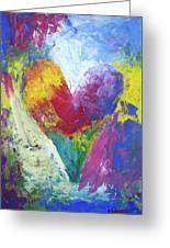 Rainbow Heart In The Cloud Acrylic Paintings Greeting Card
