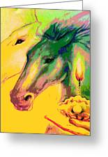 Rainbow Horses And The Pearl Of Light Greeting Card