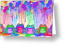 Rainbow Of Painted Frogs Greeting Card