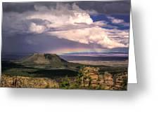 Rainbow Over Cedar Mountain Greeting Card by Claudia Abbott