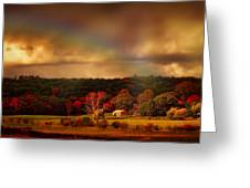 Rainbow Over Countryside Greeting Card