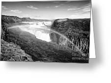 rainbow over Gullfoss waterfall Iceland Greeting Card