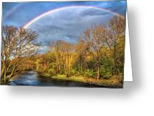 Rainbow Over The River Greeting Card