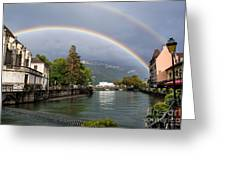 Rainbow Over Thiou River In Annecy Greeting Card