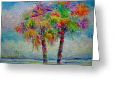 Rainbow Palm Scene Greeting Card