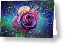 Rainbow Rose In The Rain Greeting Card