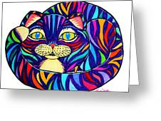 Rainbow Striped Cat Greeting Card