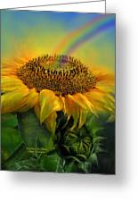 Rainbow Sunflower Greeting Card