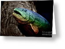 Rainbow Trout Wood Sculpture Greeting Card