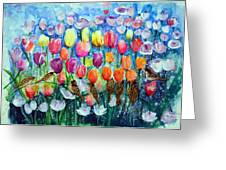 Rainbow Tulips Greeting Card
