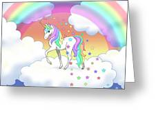 Rainbow Unicorn Clouds And Stars Greeting Card