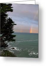 Rainbows Over The Ocean At The Mendocino Coast Greeting Card