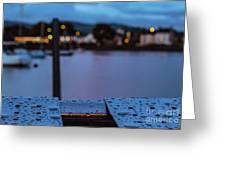 Raindrops On Metal Bench 5 Greeting Card