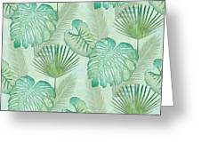 Rainforest Tropical - Elephant Ear And Fan Palm Leaves Repeat Pattern Greeting Card