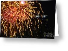 Raining Golden New Year Wishes Greeting Card