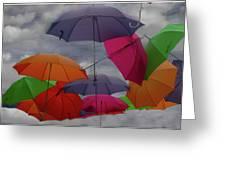 Raining Umbrellas Greeting Card
