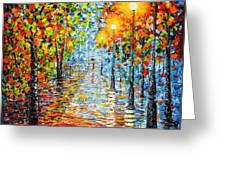 Rainy Autumn Evening In The Park Acrylic Palette Knife Painting Greeting Card